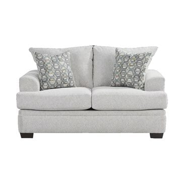 Southaven Loveseat in Cloud White with Toss Pillows in Homeward Chambray, , large