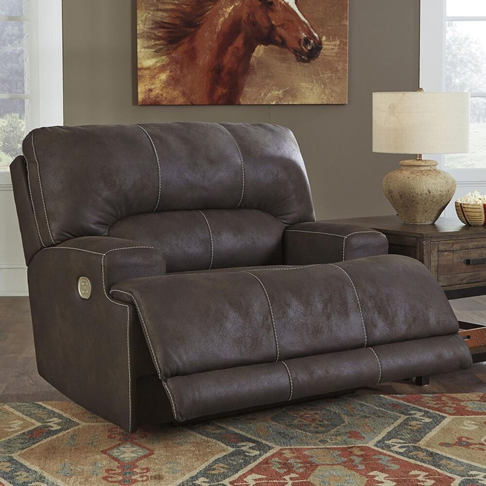 Signature Design by Ashley Kitching Power Reclining Sofa and Recliner with Adjustable Headrests in Brown, , large