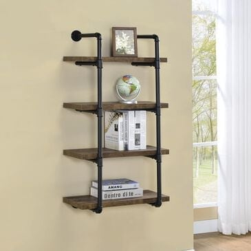 Pacific Landing Wall Shelf in Rustic Oak and Black, , large