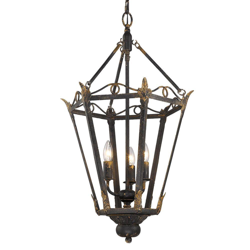 Golden Lighting Matilda 3-Light Pendant in Antique Black Iron, , large