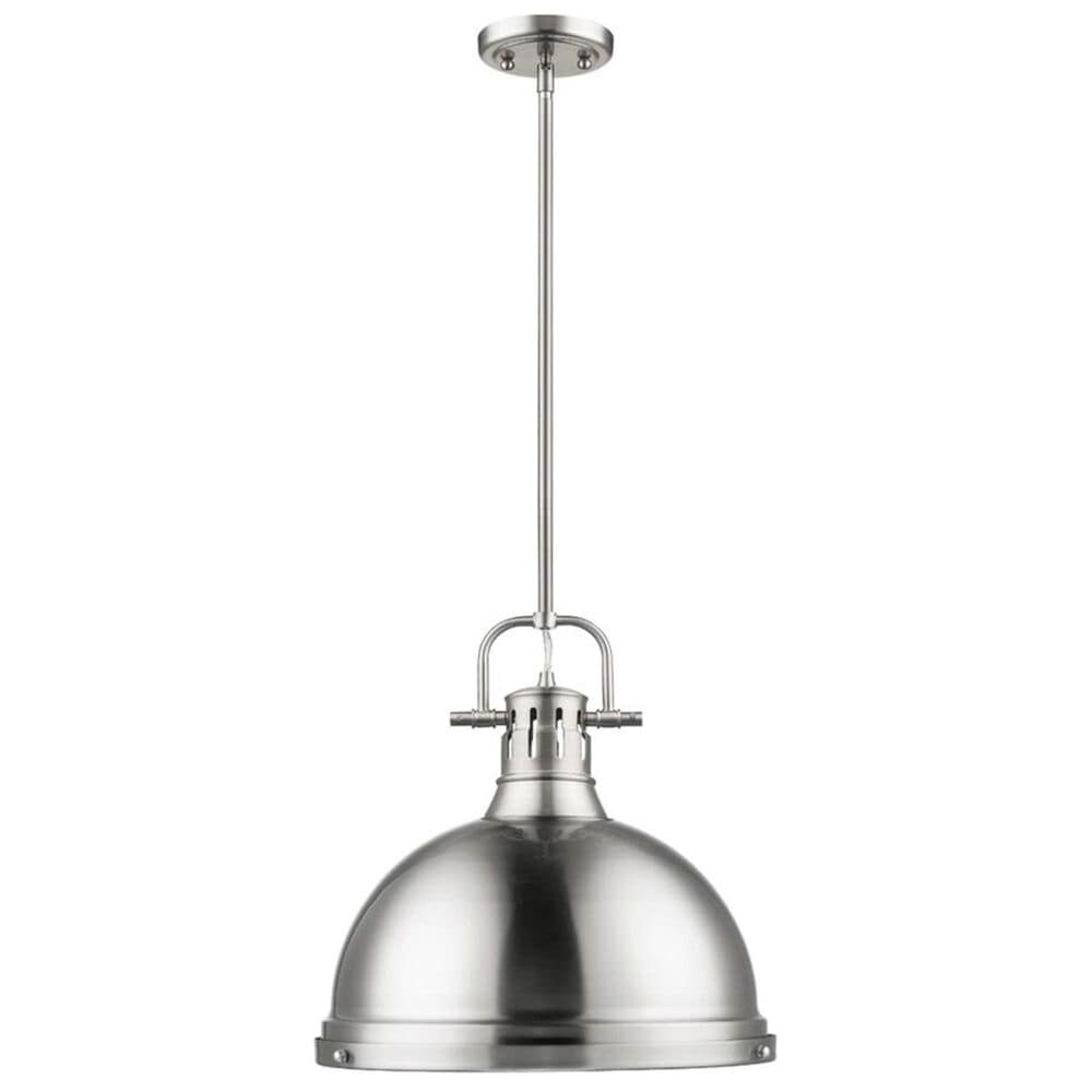 Golden Lighting Duncan 1-Light Pendant with Rod in Pewter with a Pewter Shade, , large