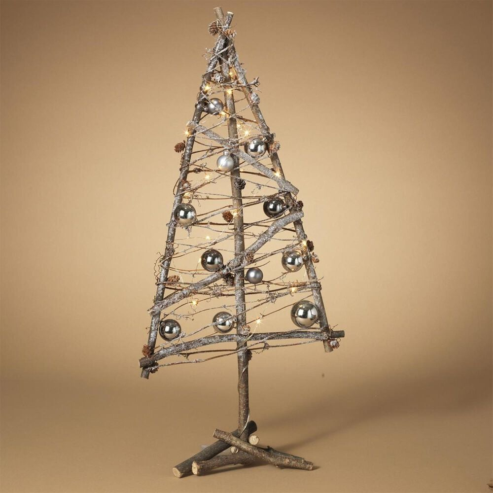 """The Gerson Company 31"""" Natural Twig Holiday Tree with Silver Ornaments with Timer, , large"""