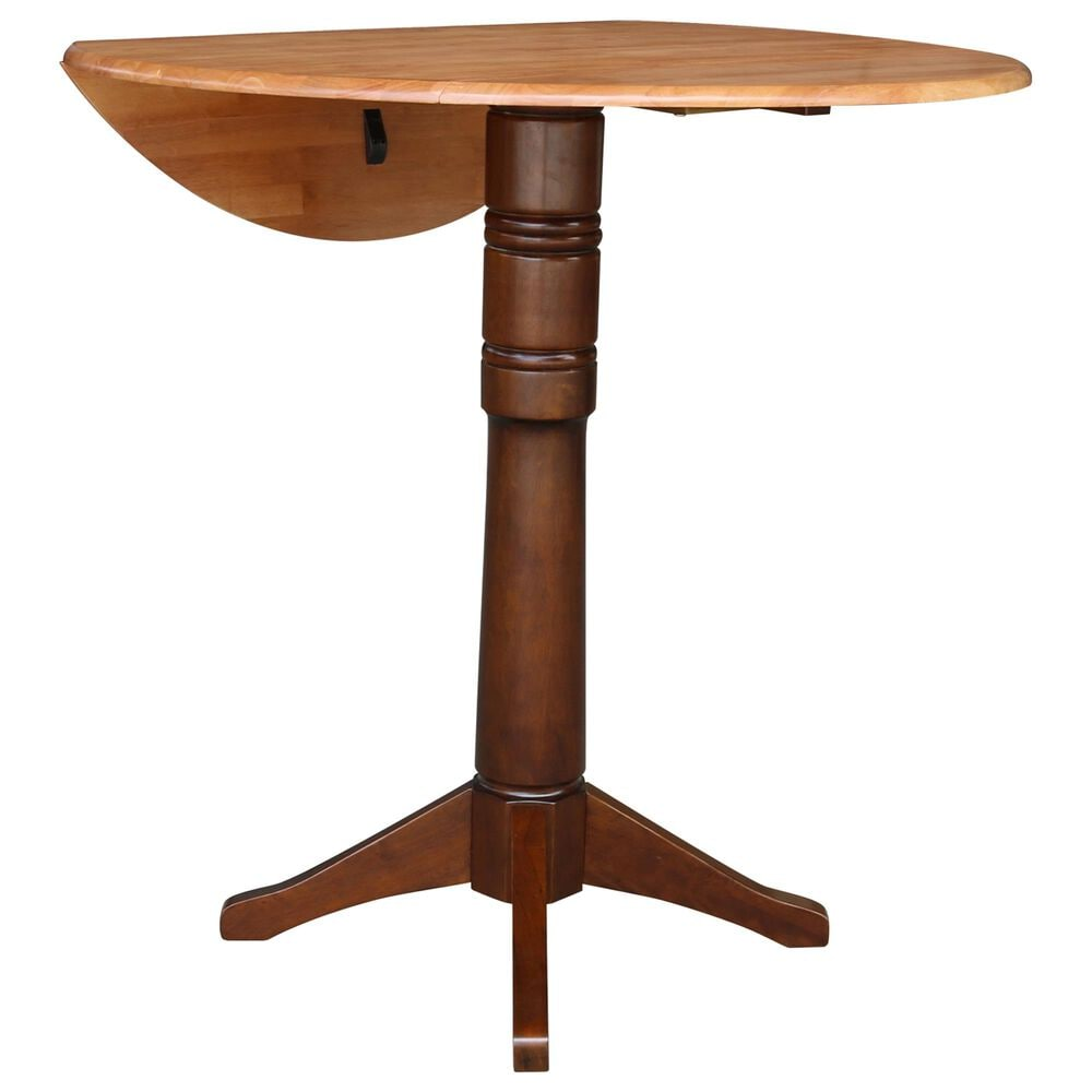 """International Concepts 42"""" Modern Farmhouse Casual Round Drop Leaf Dining Table in Cinnamon/Espresso, , large"""