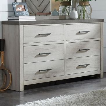 Samuel Lawrence Riverwood 6 Drawer Dresser in Whitewashed and Brown, , large