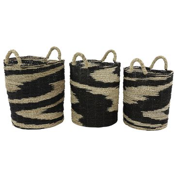 Maple and Jade Eclectic Seagrass Storage Basket in Multi Colored Set of 3, , large