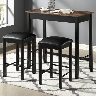 Furniture of America Price 3-Piece Counter Height Dining Set in Black, , large