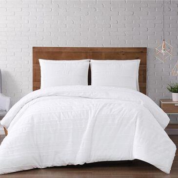 Pem America Brooklyn Loom Carlisle Stripe 3-Piece King Duvet Cover Set in White, , large