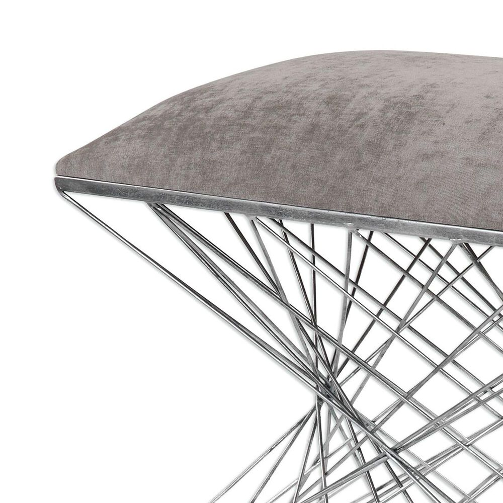Uttermost Zelia Accent Stool in Burnished Silver Finish, , large