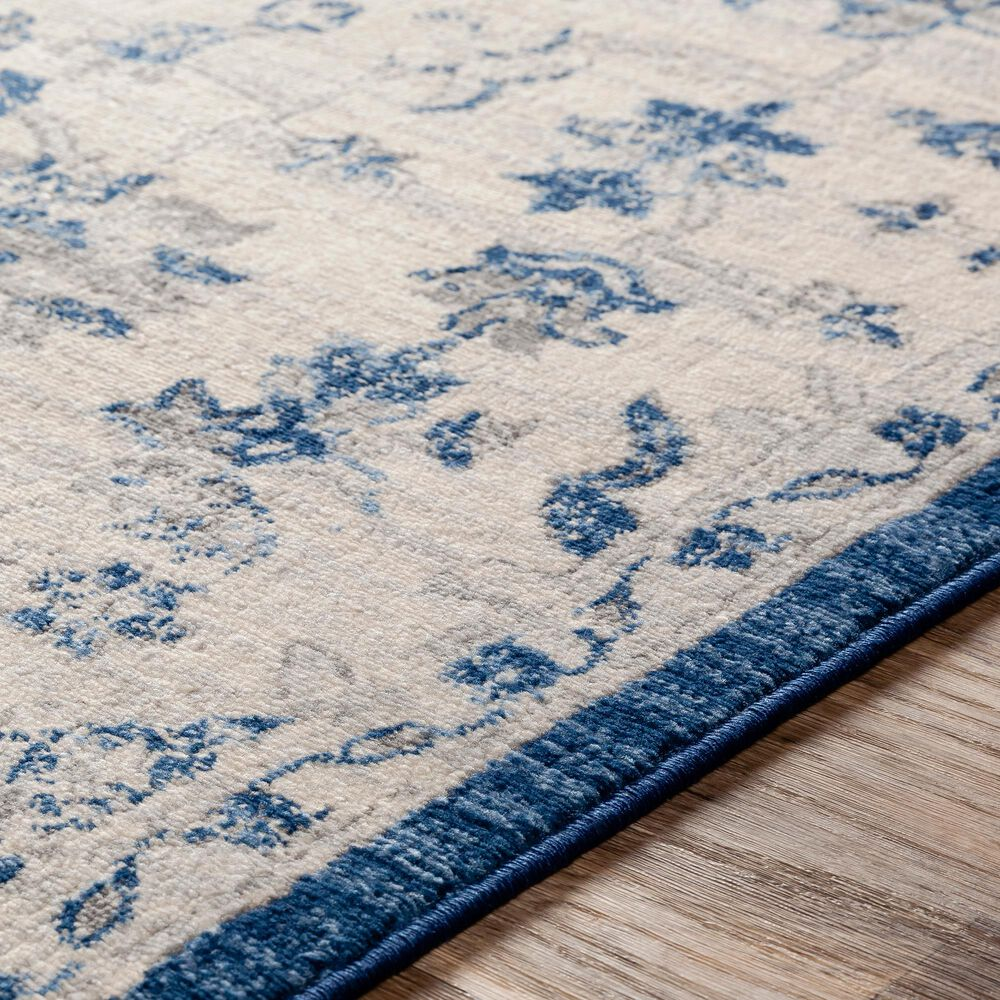 """Surya Monaco MOC-2322 2'6"""" x 8' Navy, Cream and Silver Gray Scatter Rug, , large"""