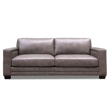 Back Nine Leather Belmont Leather Sofa in Chatham Gray, , large