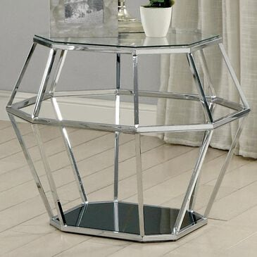 Furniture of America Starks Hexagonal Glass Top End Table in Chrome, , large