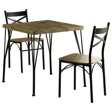 Furniture of America Ramirez 3-Piece Dining Set in Natural/Dark Bronze, , large