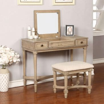 Linden Boulevard Vanity and Bench Set in Gray Wash, , large