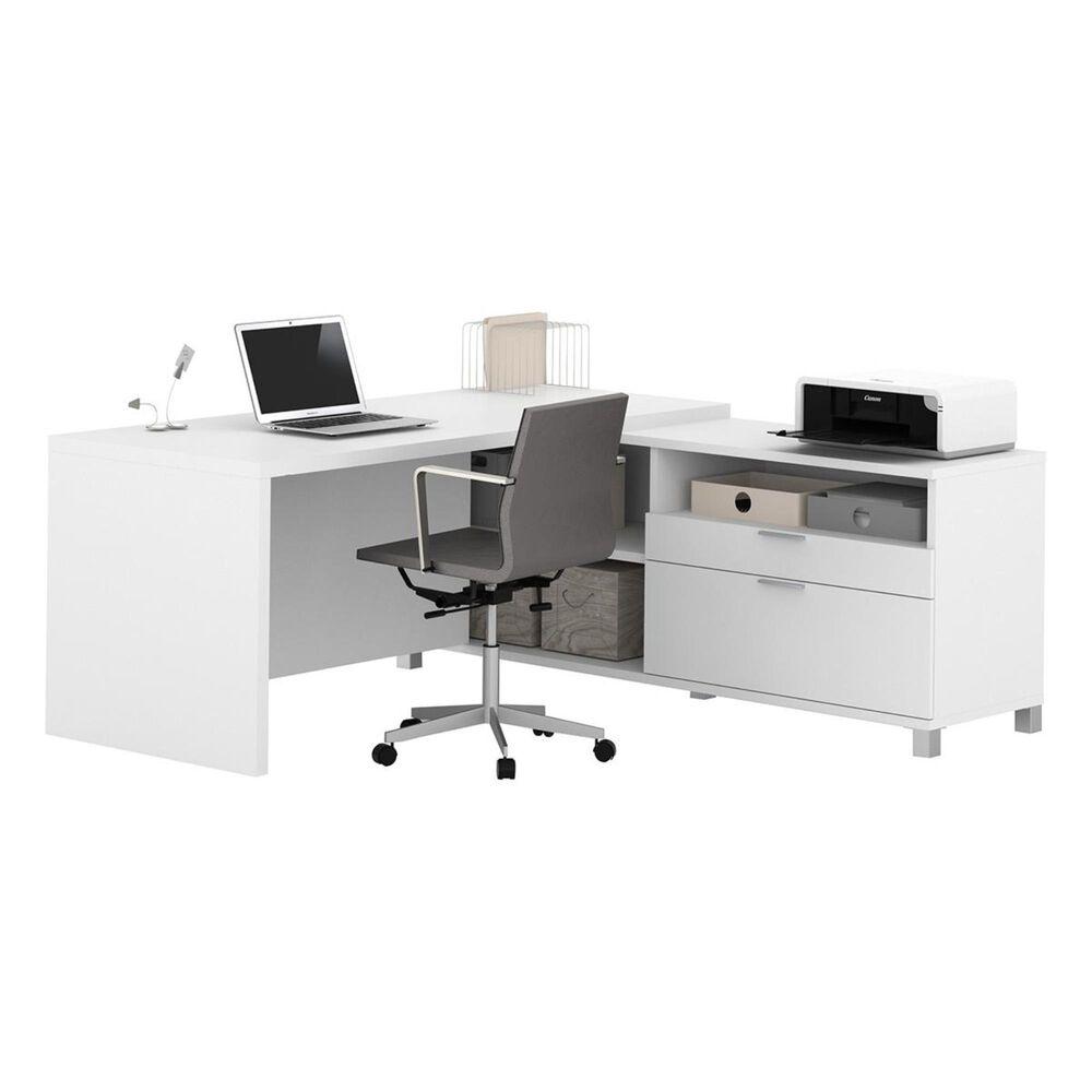 Bestar Pro-Linea L-Desk in White, , large