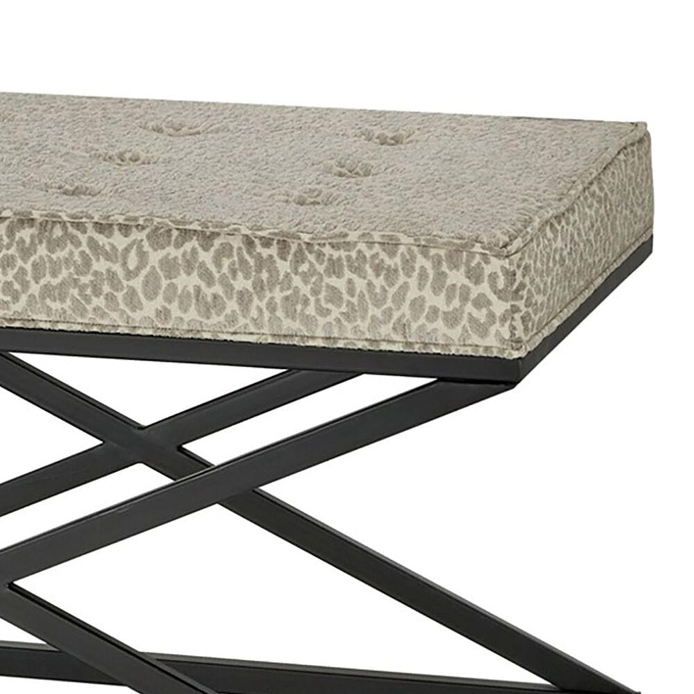 Southern Lighting Angie Bench with Snow Leopard Cushion in Black, , large