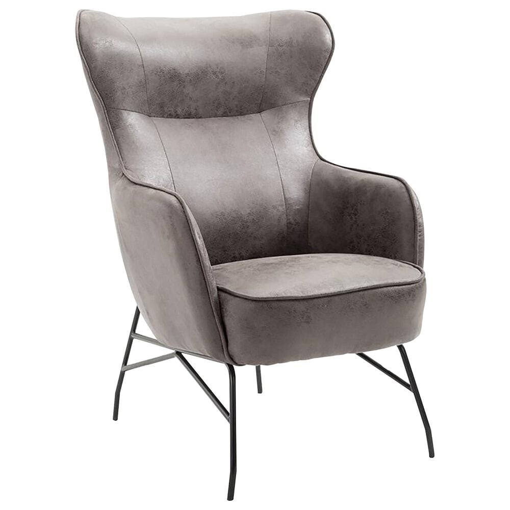 Golden Wave Furniture Franky Accent Chair in Charcoal Faux Leather, , large