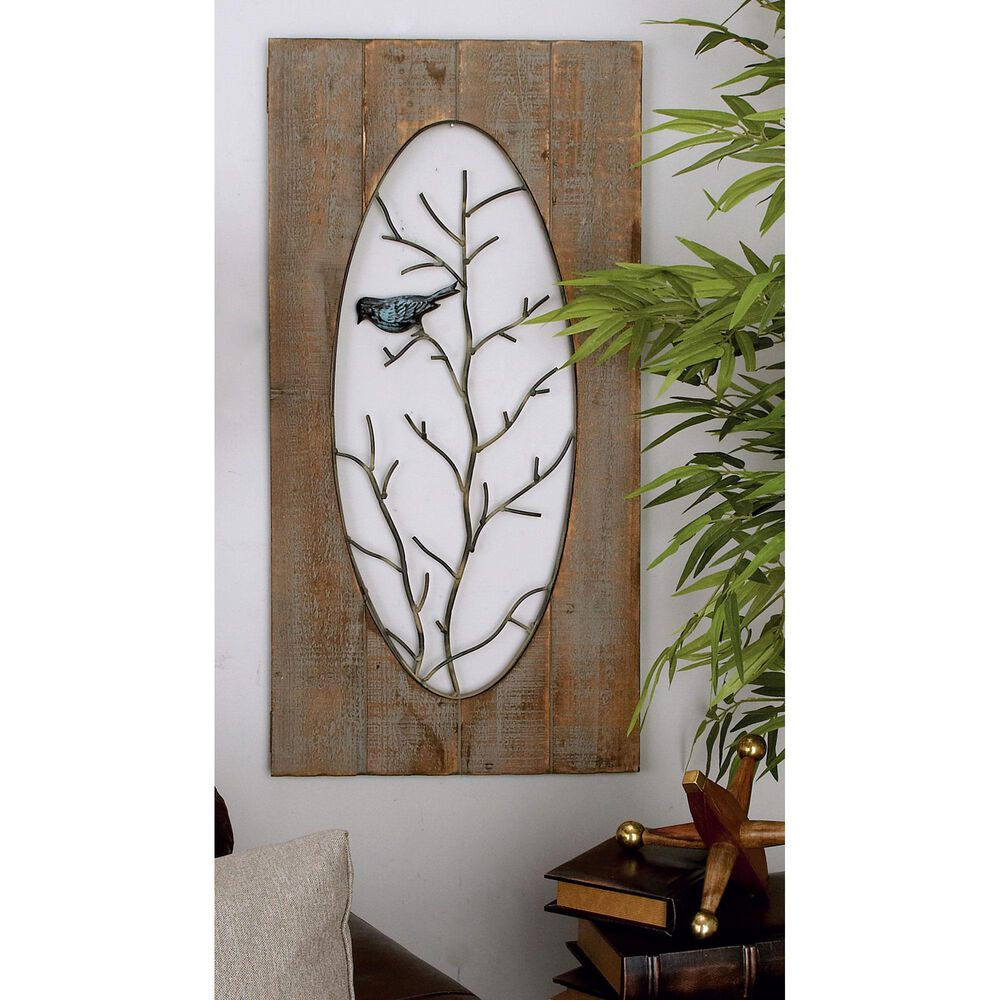 """Maple and Jade 36"""" x 18"""" Birds on Branches Wall Panel in Brown (Set of 2), , large"""