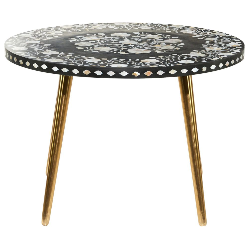 Maple and Jade Round Eclectic Metal Coffee Table in Gold and Black, , large