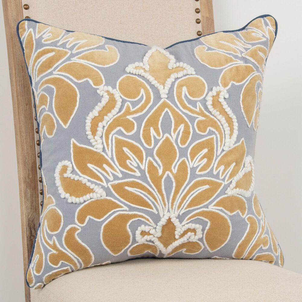 """Rizzy Home Damask 20"""" Pillow Cover in Gold/ Gray, , large"""