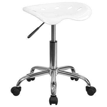 Flash Furniture Vibrant Tractor Seat Stool in White, , large