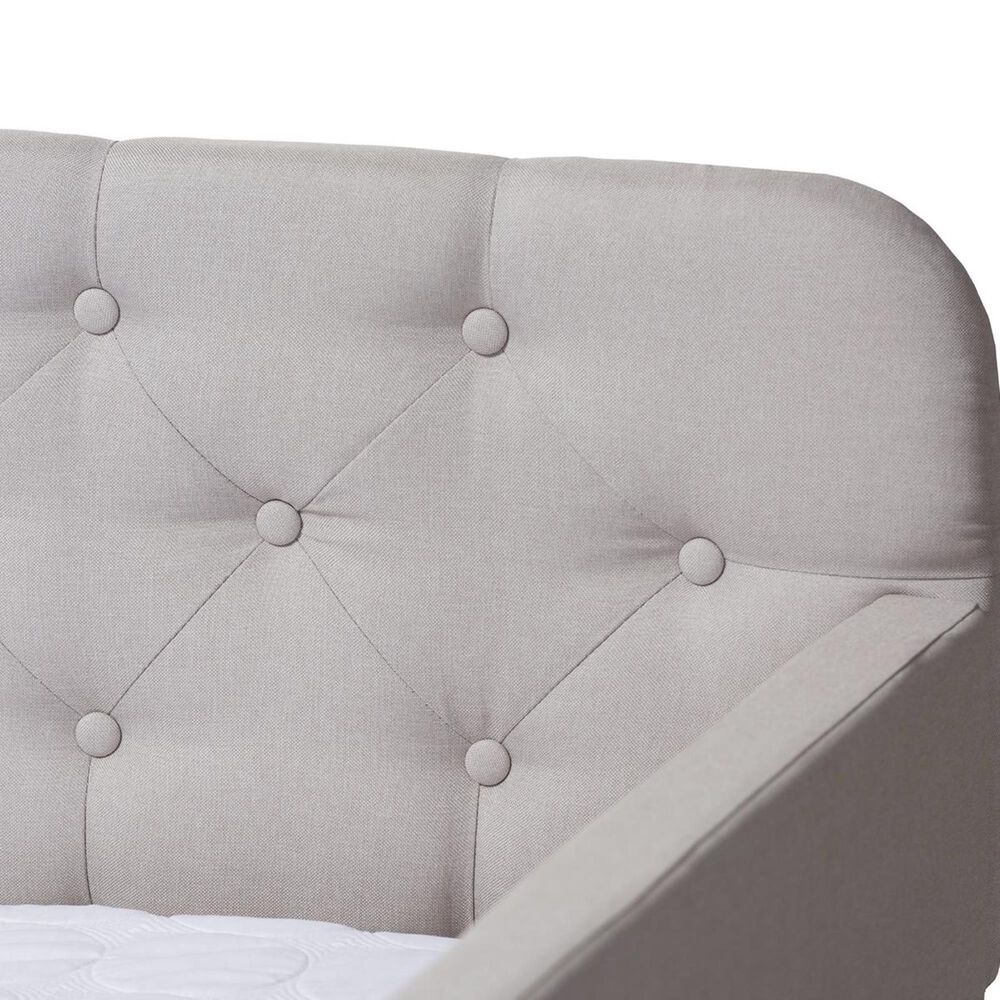 Baxton Studio Camelia Twin Sofa Daybed with Roll-Out Trundle in Beige, , large