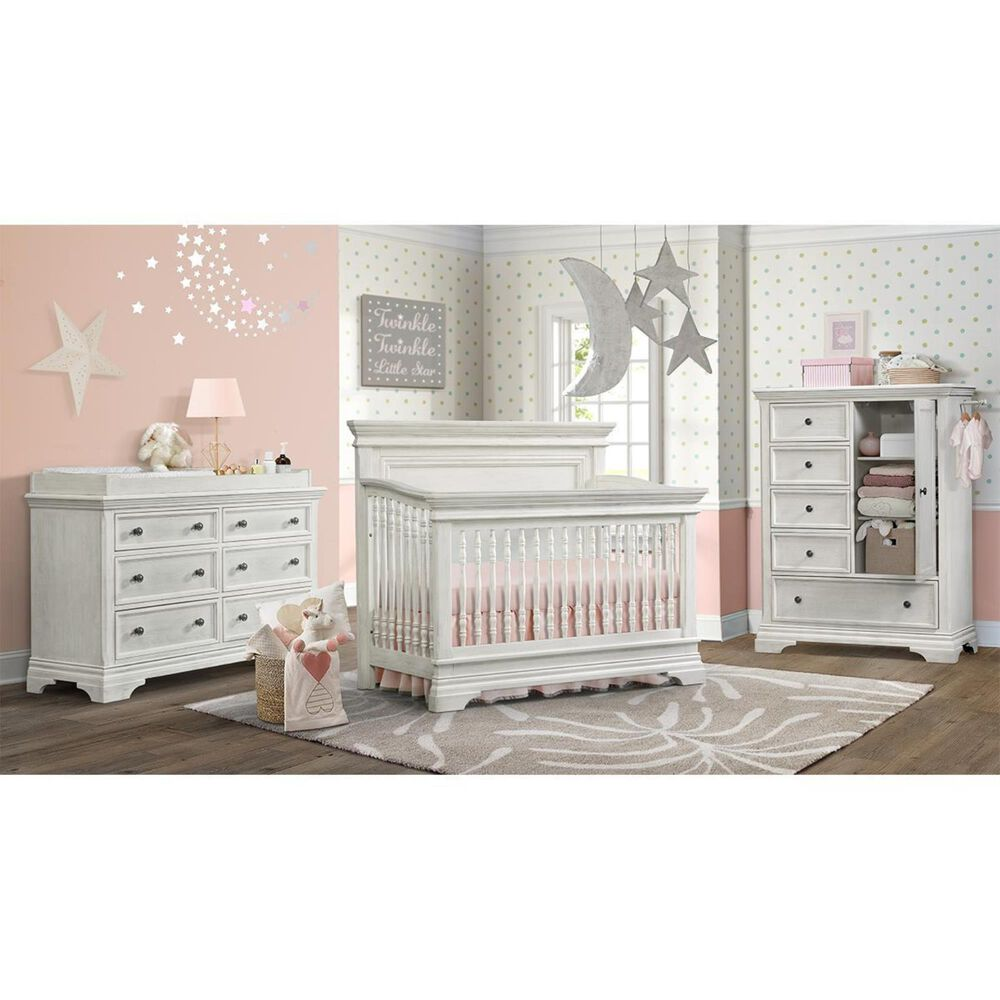 Eastern Shore Olivia Crib and Chifferobe in Brushed White, , large