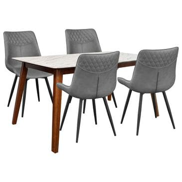 Pacific Landing Everett and Bellance 5-Piece Rectangle Dining Set in White, Natural Walnut and Black, , large