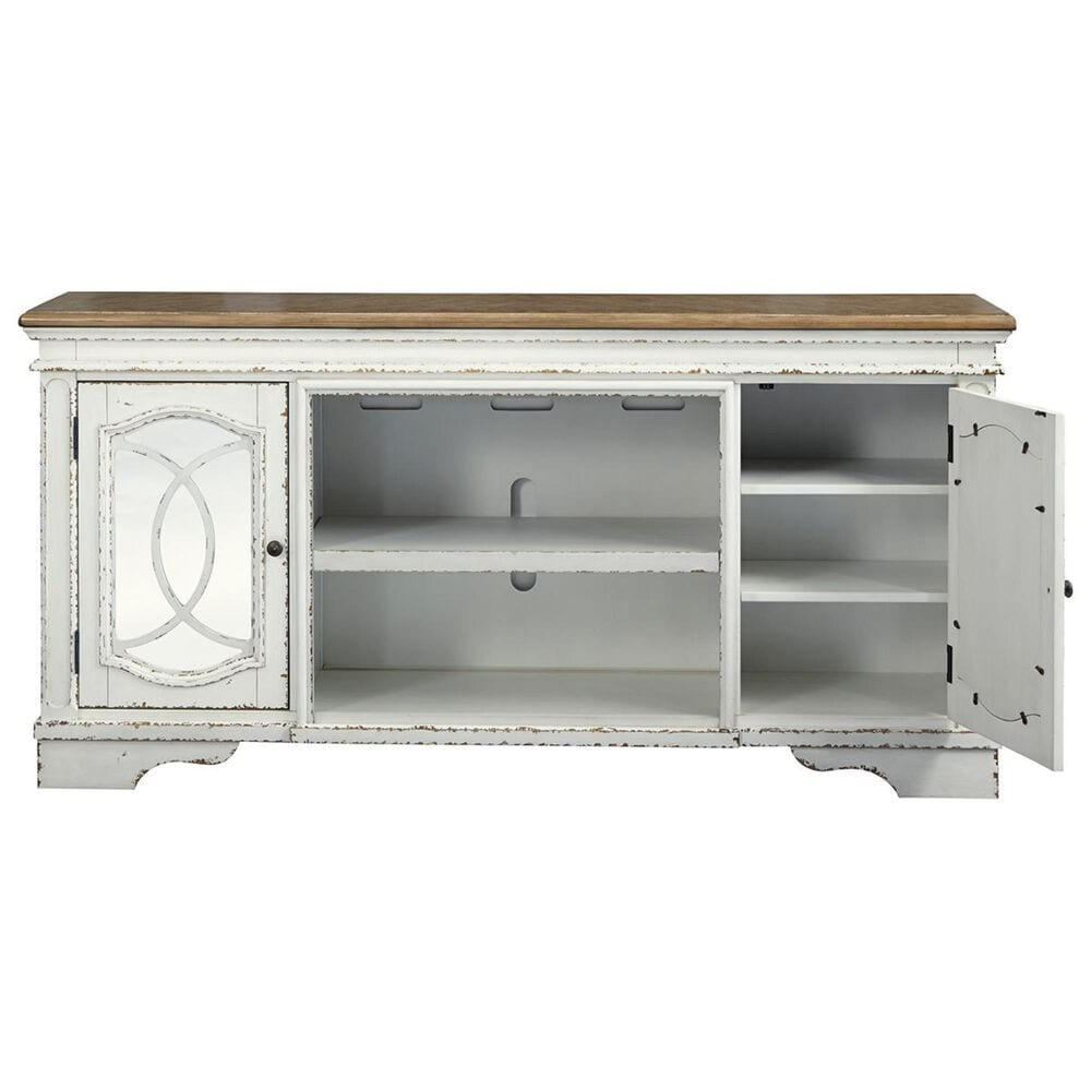 """Signature Design by Ashley Realyn XL 74"""" TV Stand in Chipped White, , large"""