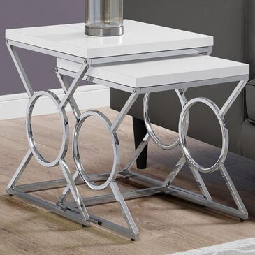 Monarch Specialties 2-Piece Nesting Table Set in Glossy White and Chrome, , large