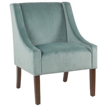 Kinfine Modern Velvet Swoop Arm Accent Chair in Aqua Blue, , large