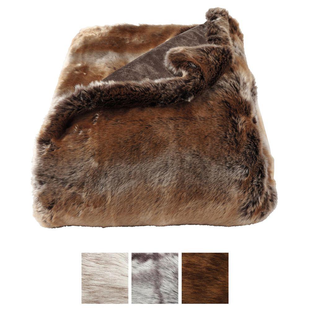 Timberlake Lavish Home Zobel Faux Marten Sable Throw in Amber Brown, , large