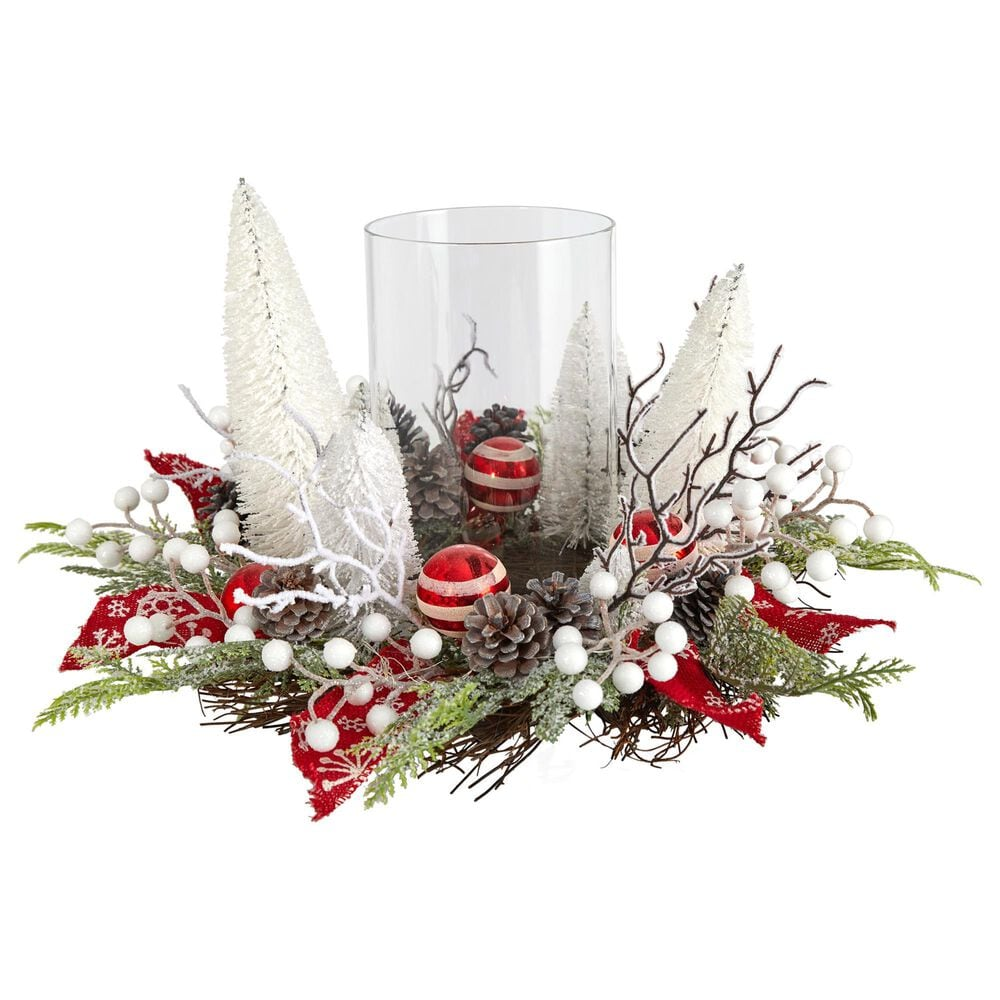 Nearly Natural Inc 15in. Holiday Lighted Forest Candle Holder Table Christmas Artificial Arrangement, , large
