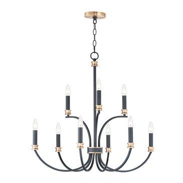 Maxim Lighting Charlton 9-Light Chandelier in Black and Antique Brass, , large