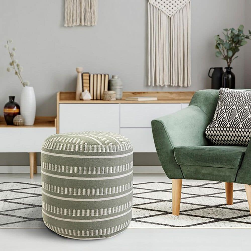 L.R. RESOURCES Dash Geometric Outdoor Pouf in Sage Green and White, , large