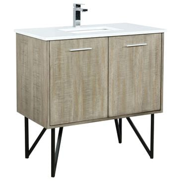 """Lexora Home Lancy 36"""" Single Bathroom Vanity in Rustic Acacia with White Quartz Top, Rectangle Sink and Chrome Faucet, , large"""