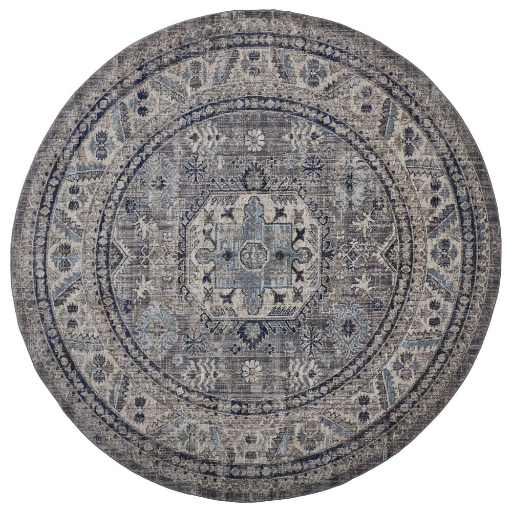 "Feizy Rugs Bellini 7'10"" Round Gray and Blue Area Rug, , large"