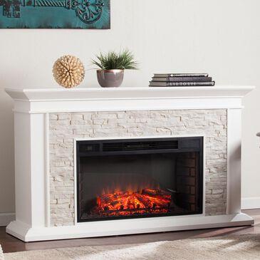 Southern Enterprises Ascrick Electric Fireplace in Fresh White/Rustic White Faux Stone, , large