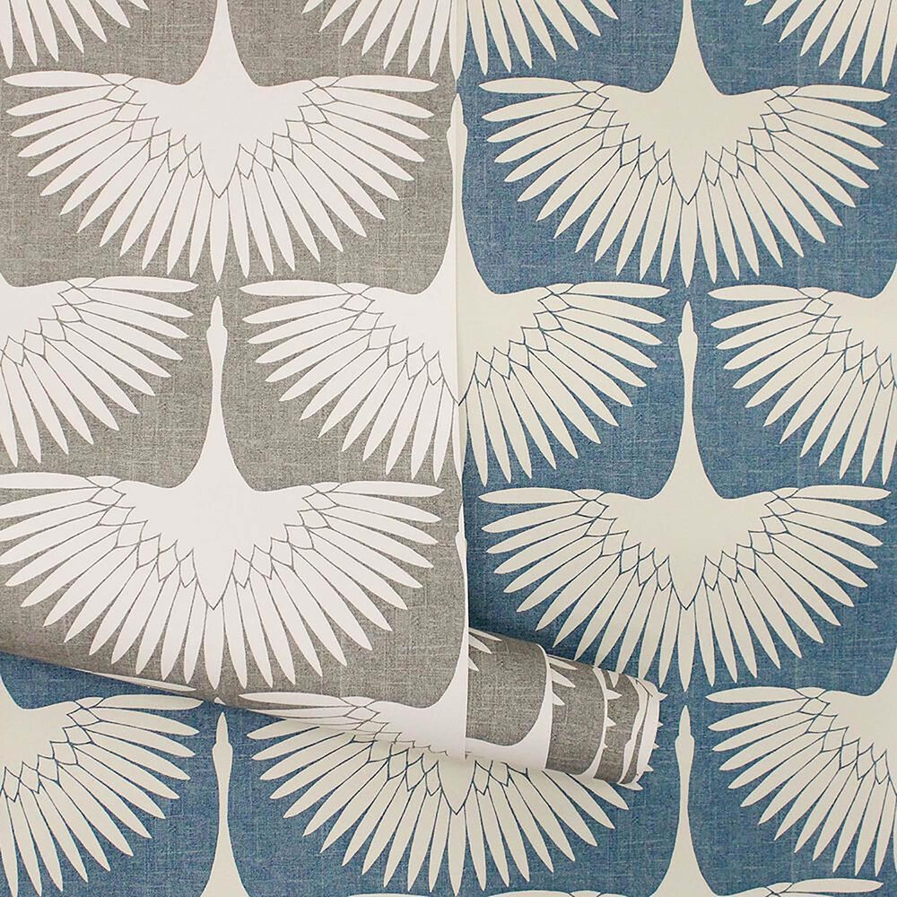 Tempaper 56 sq. ft. Genevieve Gorder Feather Flock Denim Blue Peel and Stick Wallpaper, , large