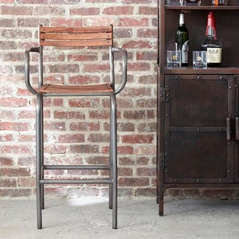 Accentric Approach Accentric Accents Benton Bar Stool in Brown Wood and Tube Metal, , large