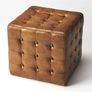 Butler Loft Leon Leather Ottoman in Brown, , large