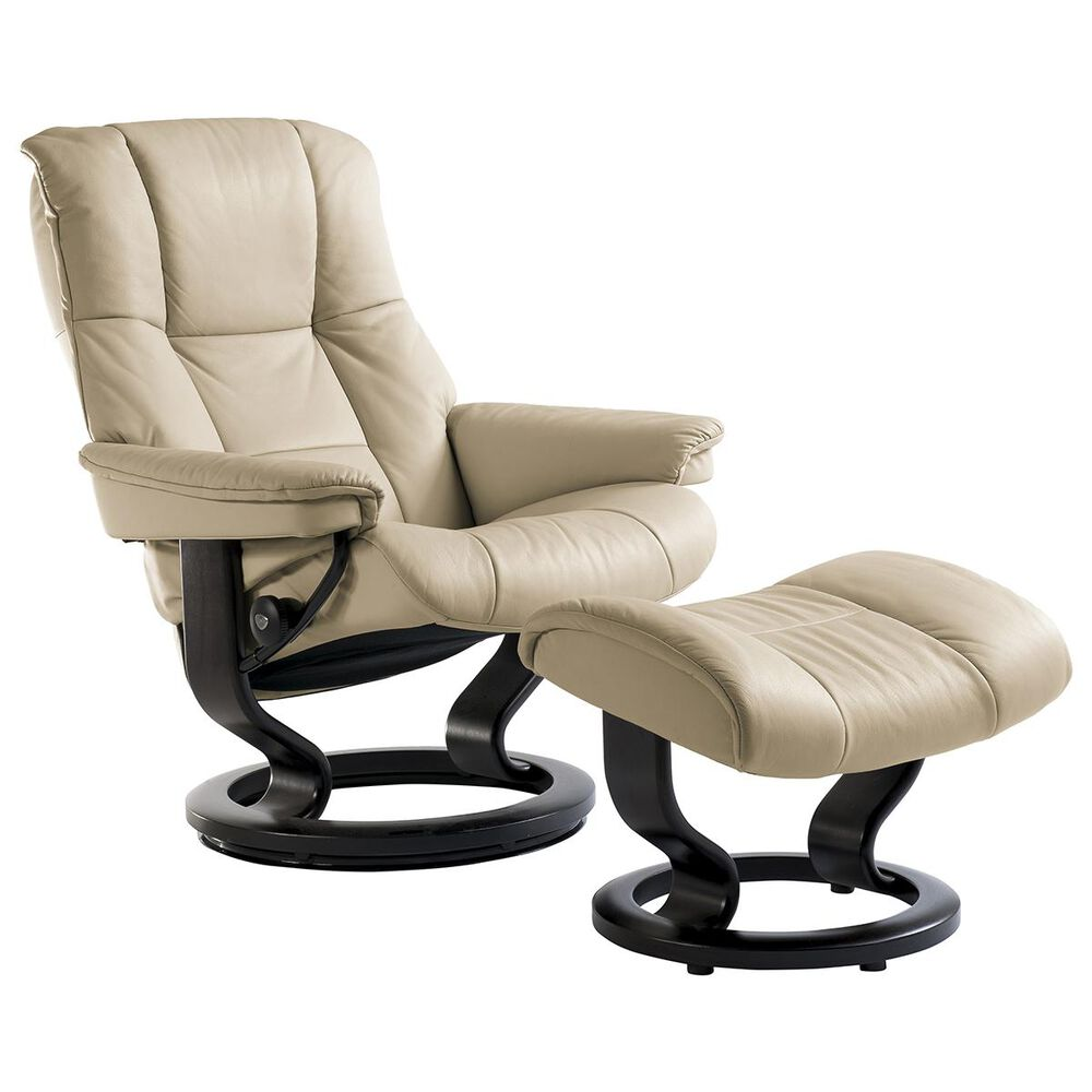 Ekornes Large Chair and Ottoman with Black Classic Base in Paloma Sand, , large