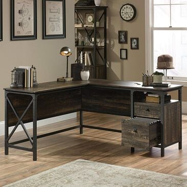 Sauder Steel River L-Shaped Desk in Carbon Oak and Black, , large