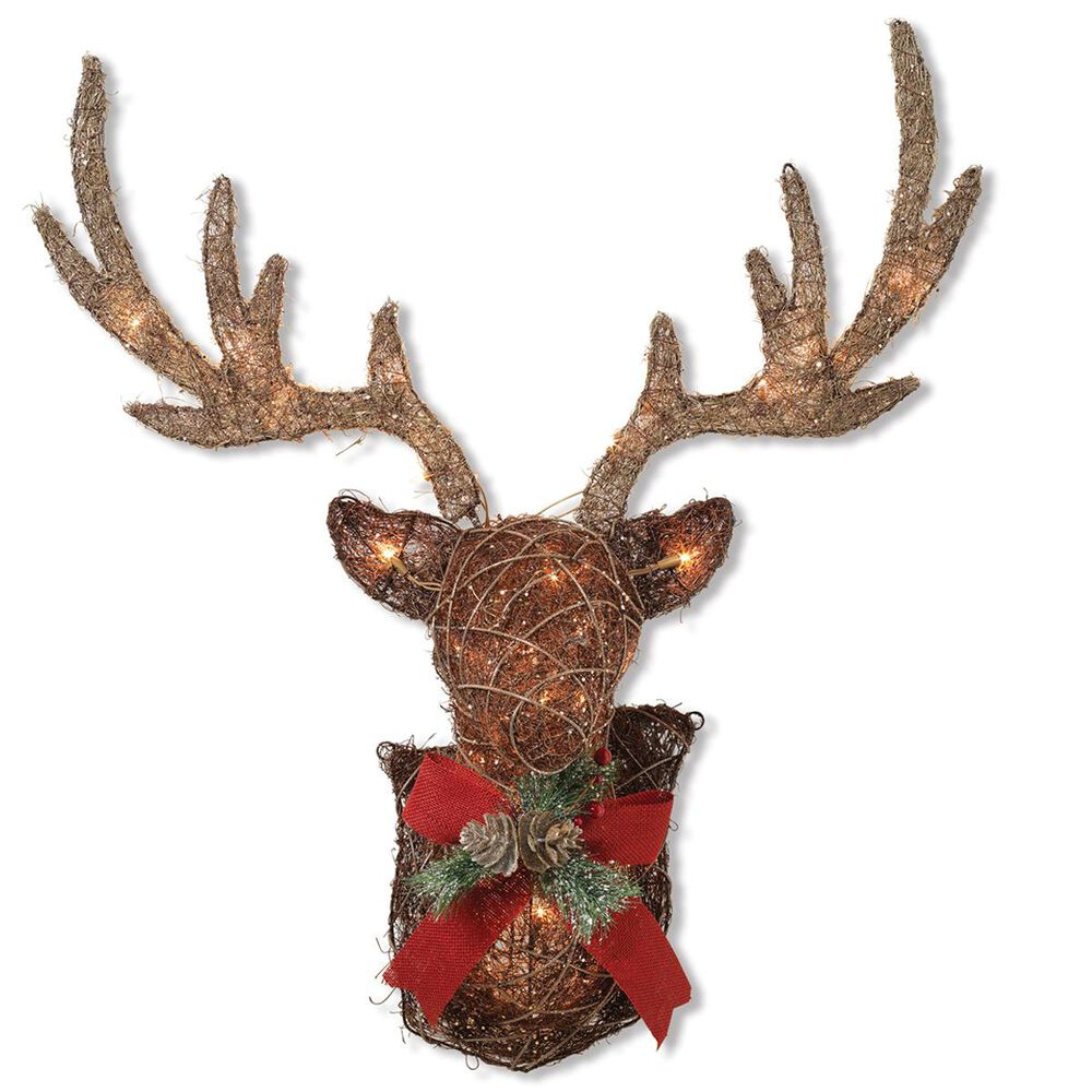 "The Gerson Company GIL 32"" Lighted Vine Stag Head Wall Decor, , large"