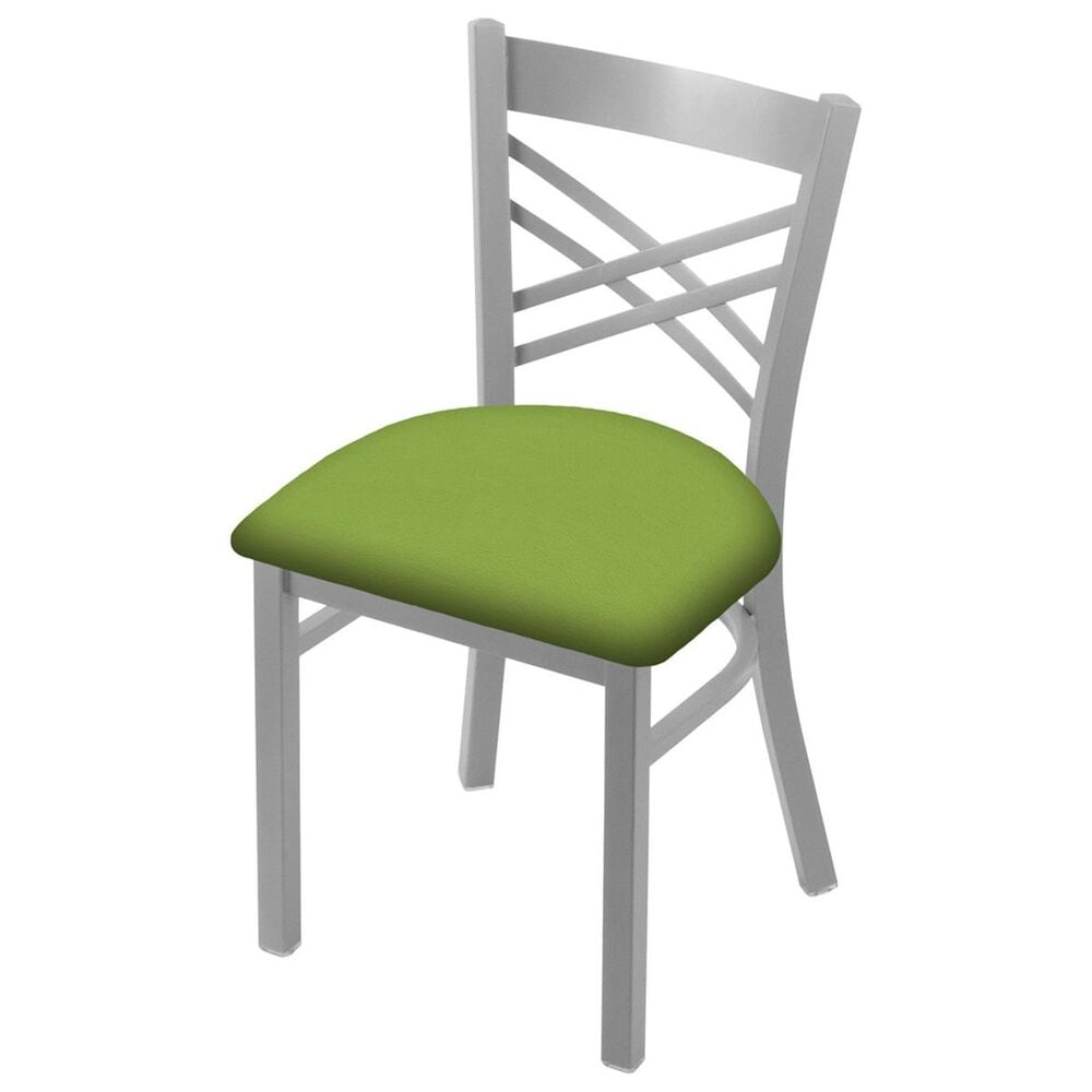 """Holland Bar Stool 620 Catalina 18"""" Chair with Anodized Nickel and Canter Kiwi Green Seat, , large"""