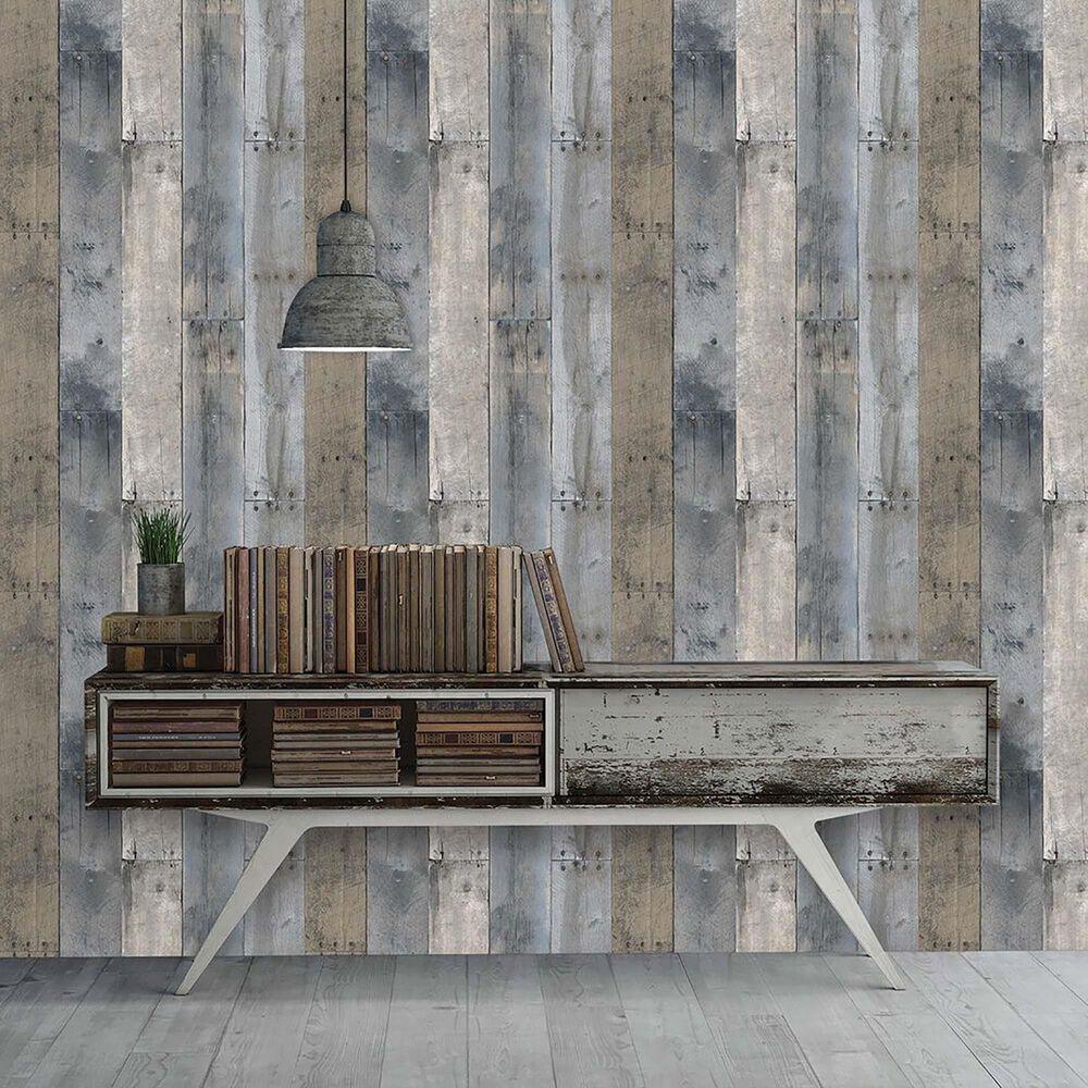 Tempaper 28 sq. ft. Repurposed Wood Multi-Color Peel and Stick Wallpaper, , large