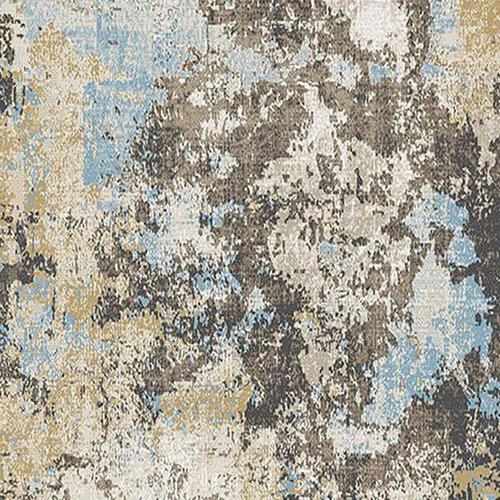 """Central Oriental Sientan Darani 2517.257 6'7"""" x 9'2"""" Yellow and Light Blue Area Rug, , large"""