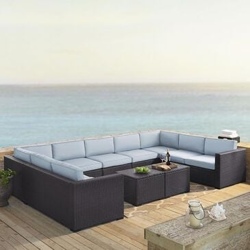 Firefly Biscayne 9 Person Wicker Seating Set in Mist, , large