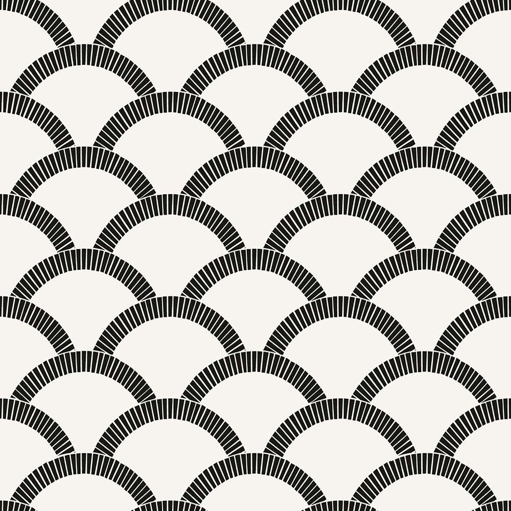 Tempaper 56 sq. ft. Mosaic Scallop Black & Cream Peel and Stick Wallpaper, , large