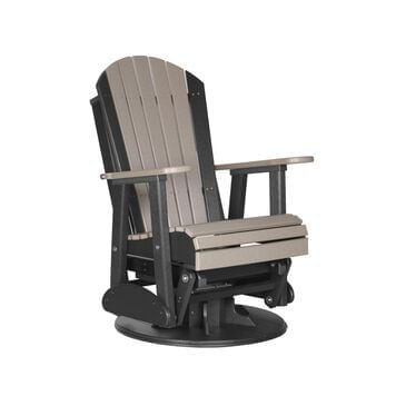 Amish Orchard 2' Adirondack Outdoor Swivel Glider Chair in Weatherwood and Black, , large