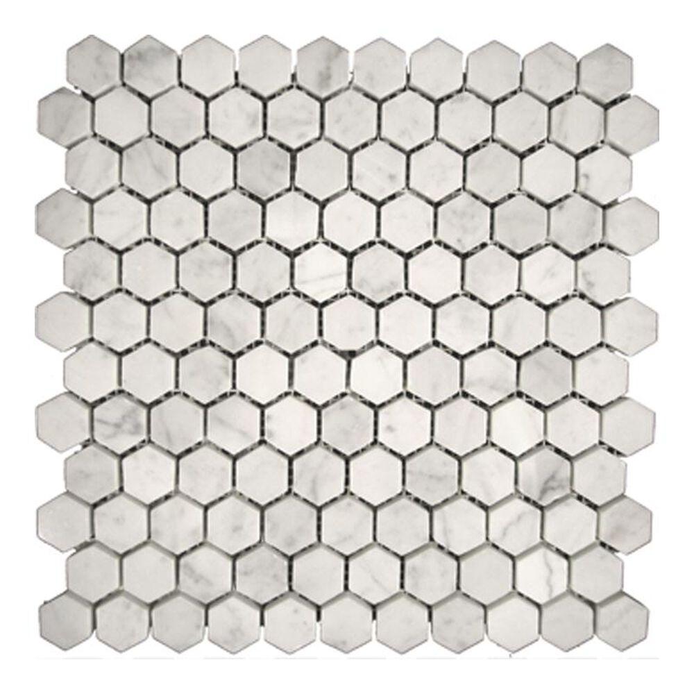 "Emser Bianco Gioia Nantes 12"" x 12"" Hexagon Natural Stone Mosaic Sheet, , large"